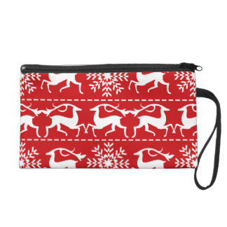 Christmas Deer Red and White Holiday Pattern Wristlet Purse