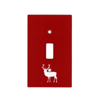 Christmas Deer Red and White Light Switch Cover