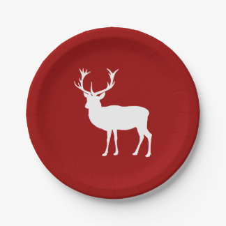 Christmas Deer Red and White Paper Plate