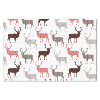 "Christmas Deer / Reindeer Decorative Pattern 10"" X 15"" Tissue Paper"