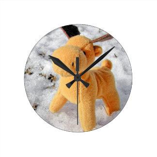 Christmas deer round clock