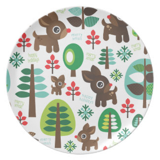 Christmas deer snow flake birthday serving plate