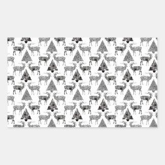 Christmas Deer & Trees Rectangular Sticker