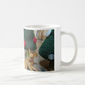 Christmas Deer vintage wool and button trees Coffee Mug