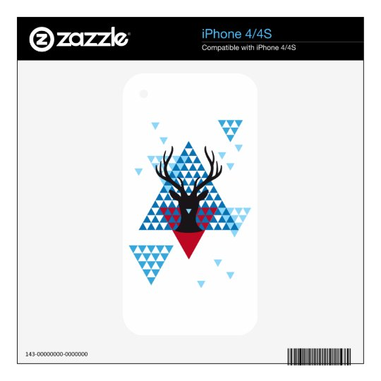 Christmas deer with abstract geometric pattern decal for the iPhone 4