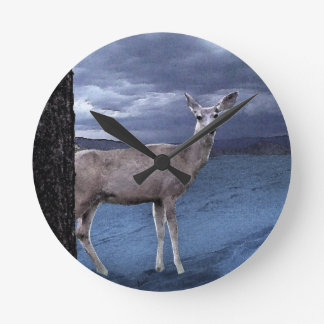 Christmas Deer with Mountains Round Clock