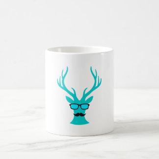 Christmas deer with mustache and nerd glasses coffee mug