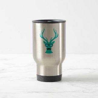 Christmas deer with mustache and nerd glasses travel mug