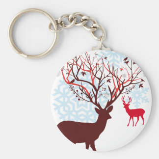 Christmas Deer with tree branch antlers Key Chain
