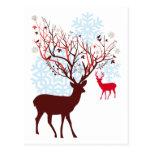 Christmas Deer with tree branch antlers Postcards