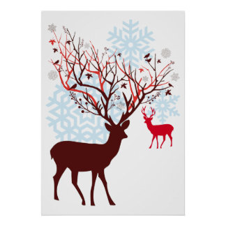 Christmas Deer with tree branch antlers Poster