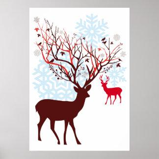 Christmas Deer with tree branch antlers Print