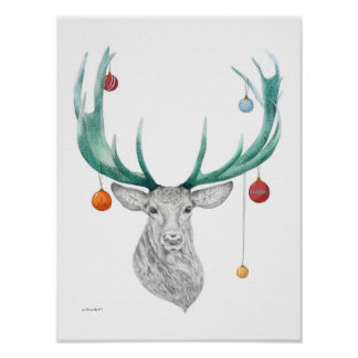 Christmas deer, Xmas, Holiday, New year 2015 Posters