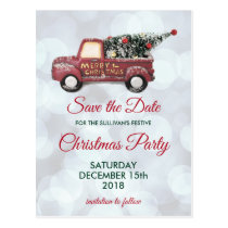Christmas Delivery Truck Party Save the Date Postcard