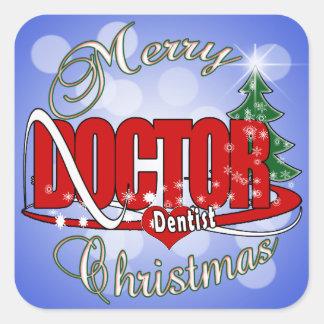 CHRISTMAS DENTIST DOCTOR SQUARE STICKER
