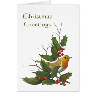 Christmas Design: English Robin, Holly, Berries Card