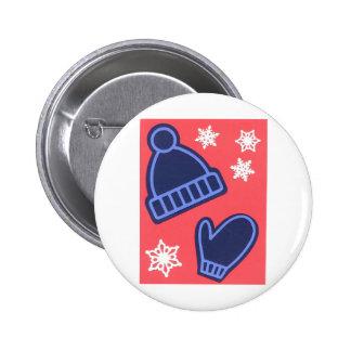 Christmas Design Snowflakes Mittens Stocking Cap Pinback Button