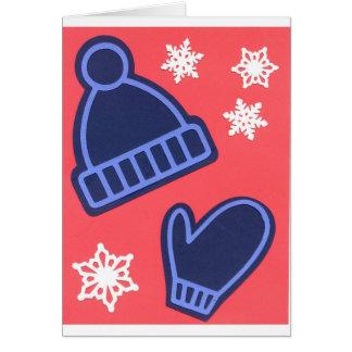 Christmas Design Snowflakes Mittens Stocking Cap Card
