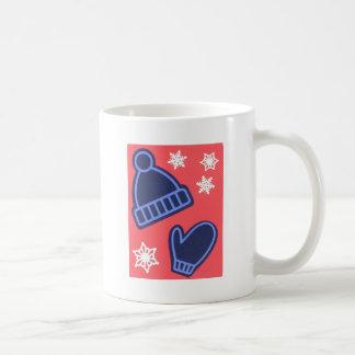 Christmas Design Snowflakes Mittens Stocking Cap Coffee Mug