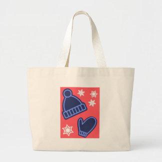 Christmas Design Snowflakes Mittens Stocking Cap Large Tote Bag