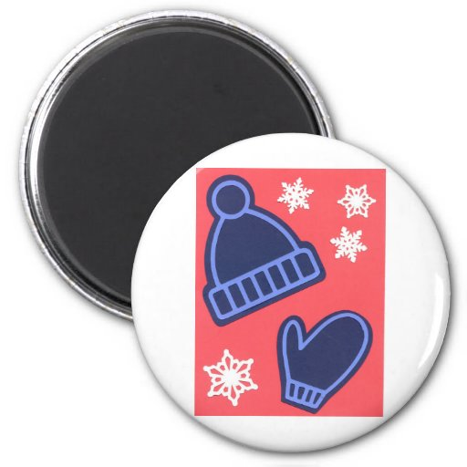 Christmas Design Snowflakes Mittens Stocking Cap 2 Inch Round Magnet