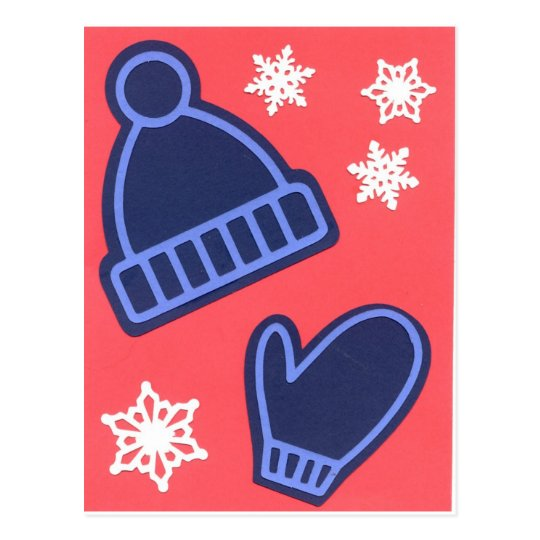 Christmas Design Snowflakes Mittens Stocking Cap Postcard