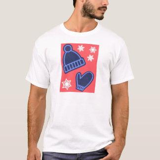 Christmas Design Snowflakes Mittens Stocking Cap T-Shirt