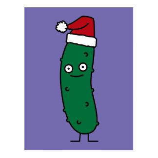 Christmas Dill Pickle wearing a Santa Hat Postcard