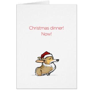 Christmas Dinner - Haughty Christmas Corgi Greeting Card