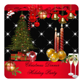 Christmas Dinner Holiday Party Red White 2 Card at Zazzle