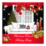 Christmas Dinner Holiday Party Red White Personalized Invitations