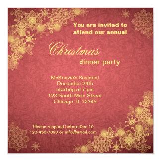 "Christmas Dinner 5.25"" Square Invitation Card"