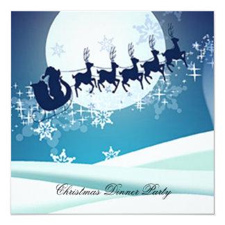 "Christmas Dinner Party 3 Invitation 5.25"" Square Invitation Card"