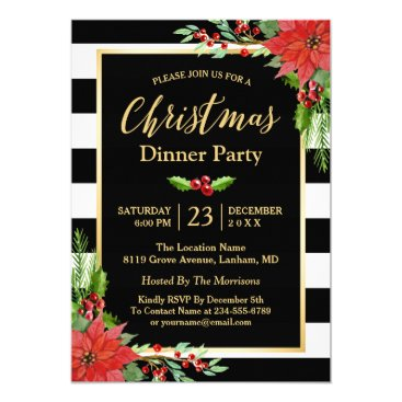 Christmas Themed Christmas Dinner Party Classic Poinsettia Floral Card