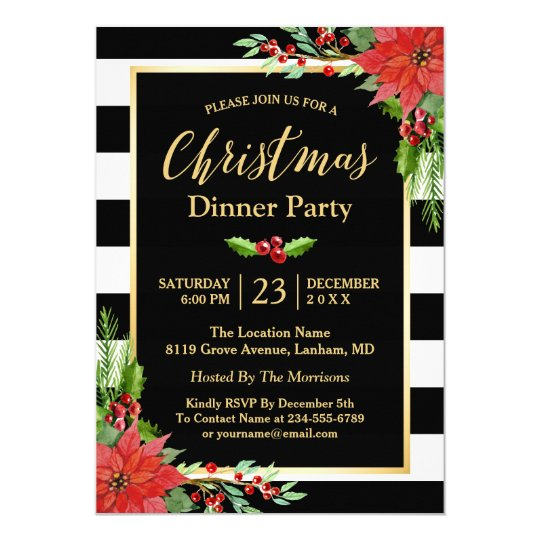Christmas party invitations zazzle christmas dinner party classic poinsettia floral card stopboris Image collections