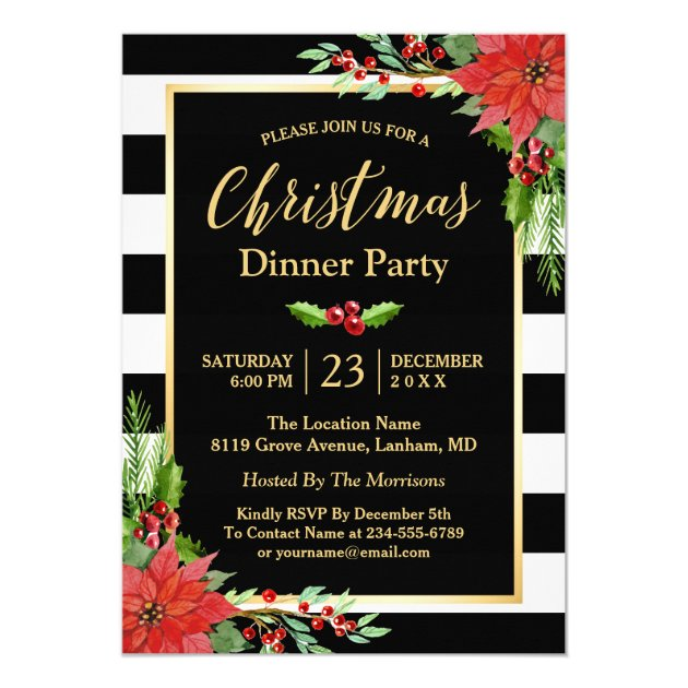 Christmas Dinner Party Classic Poinsettia Floral Card