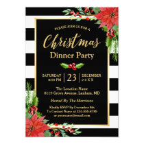 Christmas Dinner Party Classic Poinsettia Floral Invitation