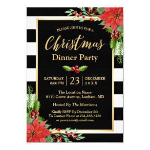 Christmas dinner invitations zazzle christmas dinner party classic poinsettia floral invitation stopboris Images
