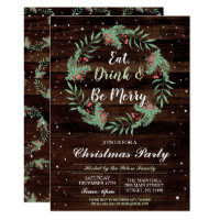 Christmas Dinner Party Day Holidays Wood Xmas Invitation