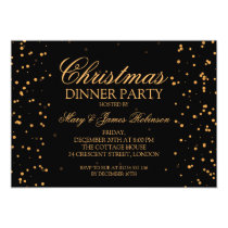 Christmas Dinner Party Gold Confetti Dots Card