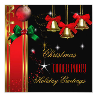 Christmas Dinner Party Holiday Red Black Ornaments 5.25x5.25 Square Paper Invitation Card