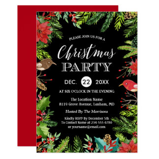 Christmas Dinner Party | Rustic Berries and Pines Card