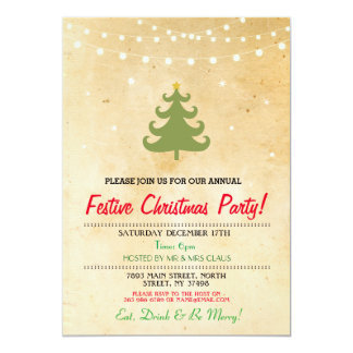 Christmas Dinner Party Tree Lights Stars Invite