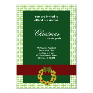 Christmas Dinner Squares 5x7 Paper Invitation Card