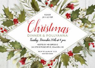 christmas dinner watercolor vintage holly on wood invitation - Christmas Pollyanna