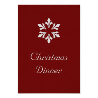 """""""Christmas Dinner"""" - Winter Gray Snowflake Personalized Announcement"""
