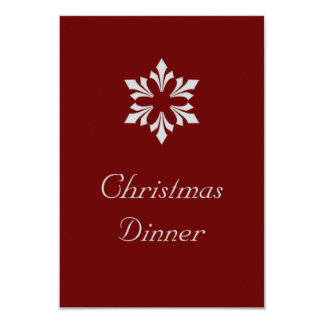 """Christmas Dinner"" - Winter Gray Snowflake Personalized Announcement"