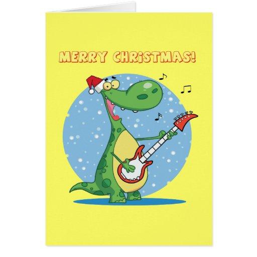 Christmas Dinosaur Playing Guitar Card