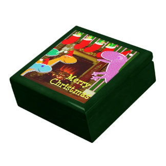 Christmas Dinosaurs by the Fireplace Gift Box
