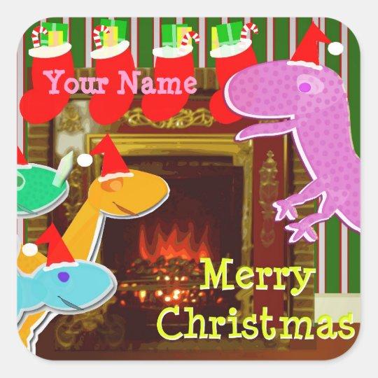 Christmas Dinosaurs Name Stickers